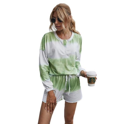 Light Green Cotton Blend Tie Dye Buttoned Pajama Set TQK710139-28