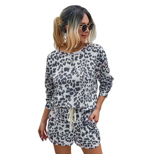 Leopard Print Pocket Long Sleeve Shorts Set TQK710136-20