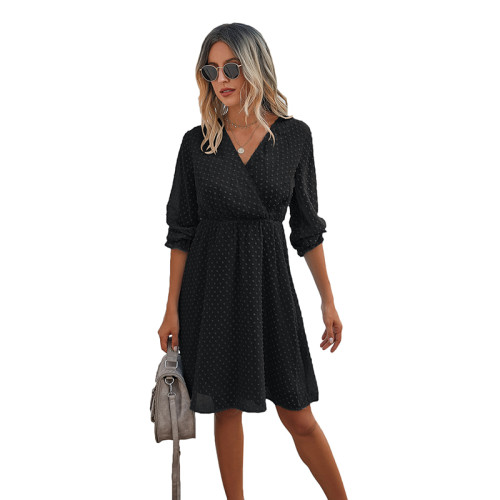 Black Wrap Front Chiffon Long Sleeve Dress TQK310386-2