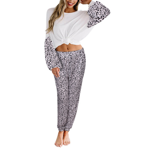 Gray Leopard Print Long Sleeve Pant Pajama Set TQK710140-11