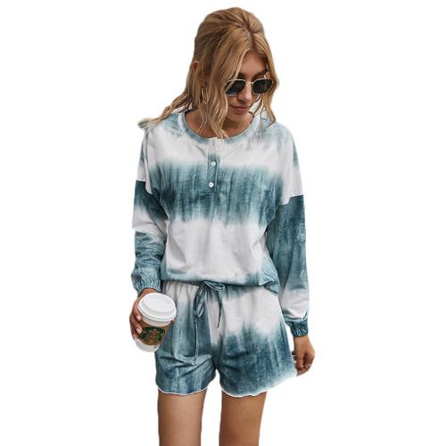 Bluish Grey Cotton Blend Tie Dye Buttoned Pajama Set TQK710139-43