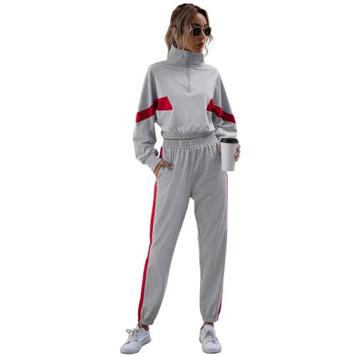 Light Gray Colorblock Crop Sweatshirt with Jogger Set TQK710142-25