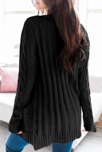 Black Button Pocket Knit Cardigan LC271033-2