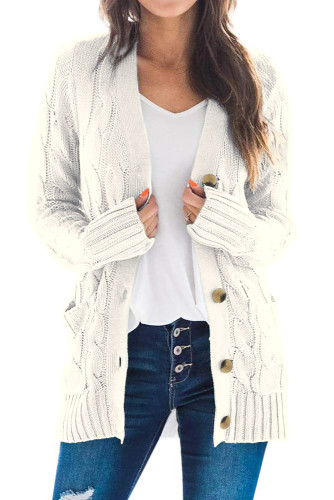 White Button Pocket Knit Cardigan LC271033-1