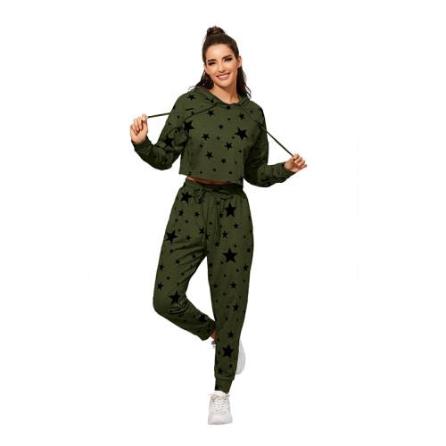 Army Green Stars Print Hoodie Jogger Set TQK710141-27