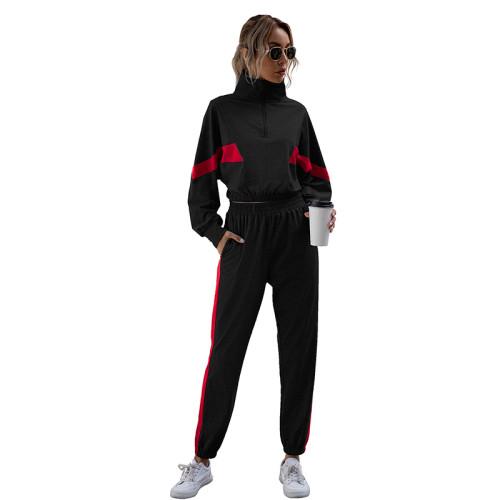 Black Colorblock Crop Sweatshirt with Jogger Set TQK710142-2