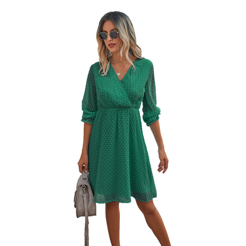 Green Wrap Front Chiffon Long Sleeve Dress TQK310386-9