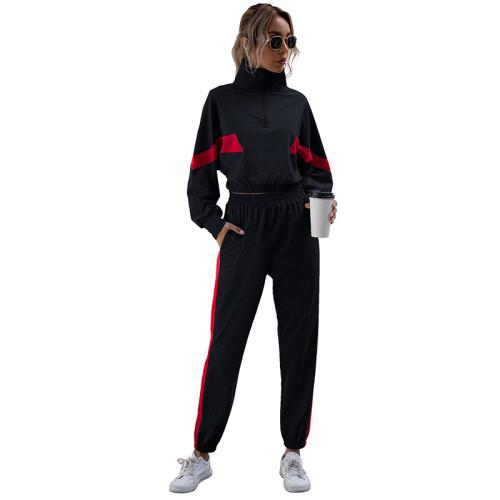 Navy Blue Colorblock Crop Sweatshirt with Jogger Set TQK710142-34
