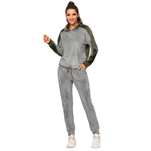 Gray Colorblock Zipper Velvet Sweatshirt Sports Set TQK710143-11