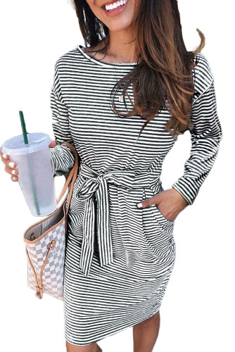 Black Striped Pocket Long Sleeve Mini Dress With A Belt LC222194-2