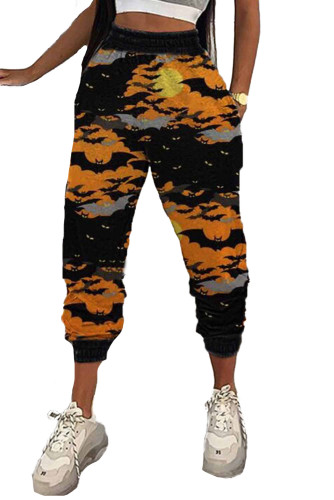Orange Halloween Bat Print Casual Pants LC77637-14