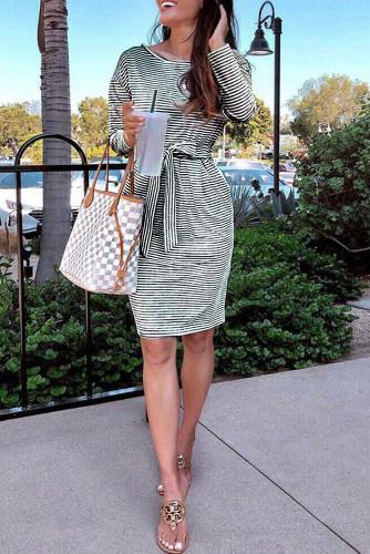 Black Striped Pocket Long Sleeve Mini Dress With A Belt LC222194-2
