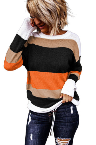 Orange Colorblock Knit Sweater LC272162-14