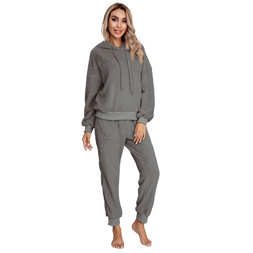 Dark Gray Drawstring Hoodie Loungwear Set TQK710145-26