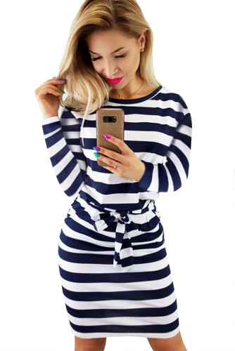 Blue Striped Pocket Long Sleeve Mini Dress With A Belt LC222194-5