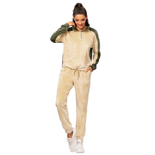 Apricot Colorblock Zipper Velvet Sweatshirt Sports Set TQK710143-18