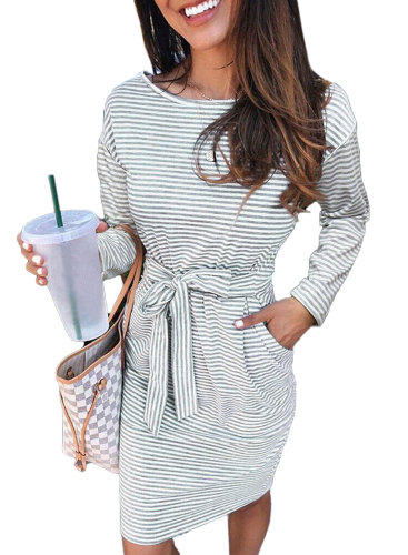 Gray Striped Pocket Long Sleeve Mini Dress With A Belt LC222194-11