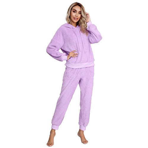 Light Purple Drawstring Hoodie Loungwear Set TQK710145-38
