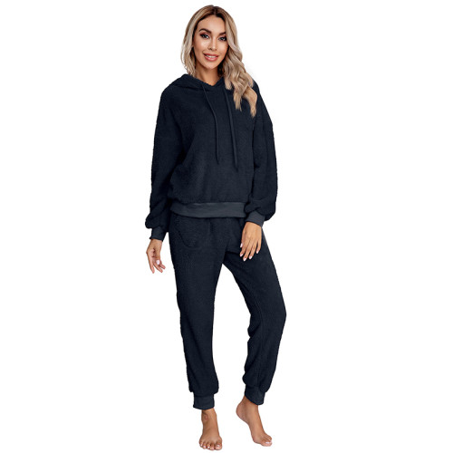 Navy Blue Drawstring Hoodie Loungwear Set TQK710145-34