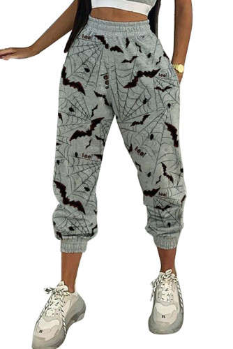 Gray Halloween Bat Print Casual Pants LC77637-11
