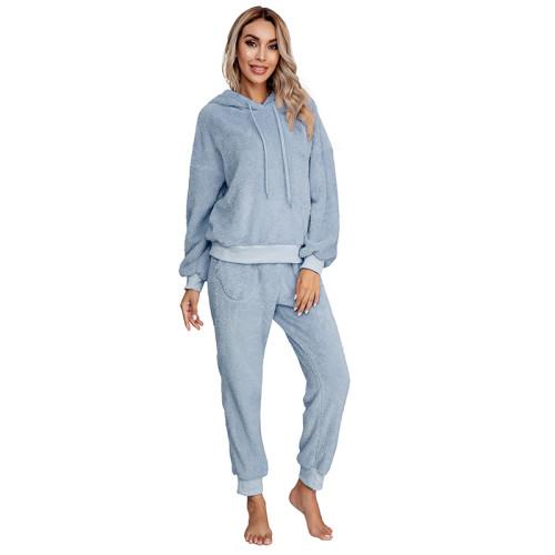 Light Blue Drawstring Hoodie Loungwear Set TQK710145-30