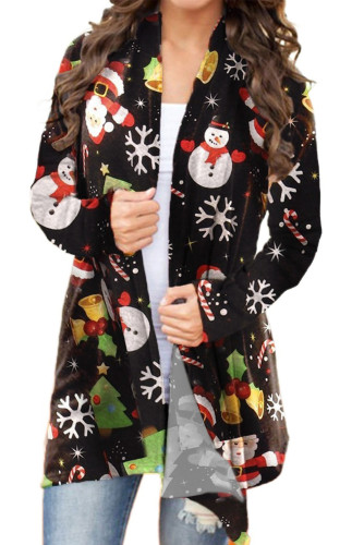 Christmas Santa Snowman Snowflake Print Cardigan LC254162-2