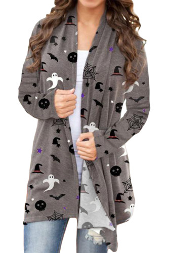 Halloween Spirit Printed Gray Cardigan LC254163-11