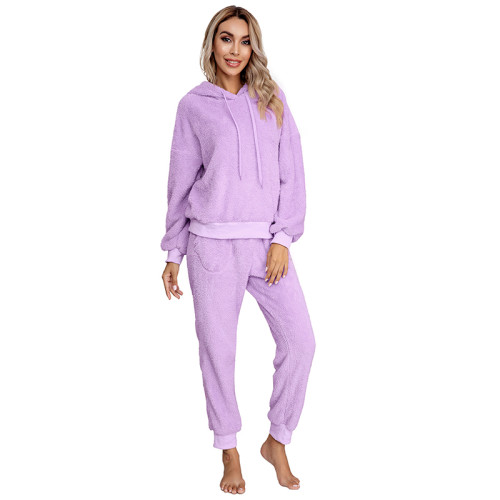 Light Purple Drawstring Hoodie Loungwear Set TQK710145-38