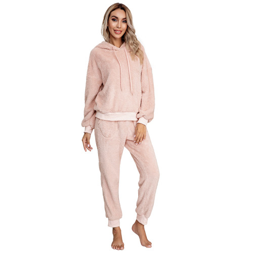 Light Pink Drawstring Hoodie Loungwear Set TQK710145-39