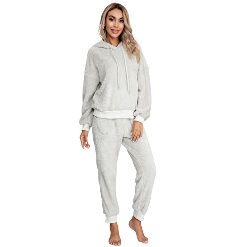 Light Gray Drawstring Hoodie Loungwear Set TQK710145-25