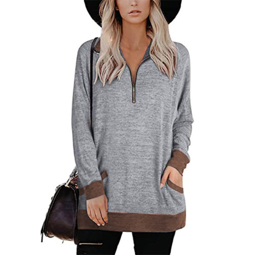 Gray Zipper Long Sleeve Sweatshirt With Pocket TQK230230-11