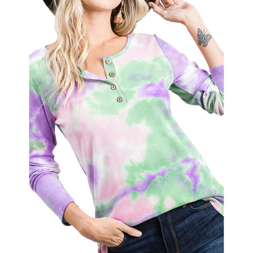Light Purple Button Neck Tie Dye Long Sleeve Tops TQK210498-38
