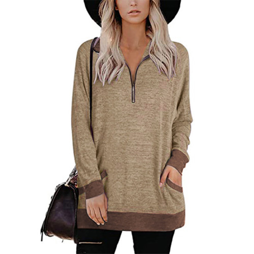 Khaki Zipper Long Sleeve Sweatshirt With Pocket TQK230230-21