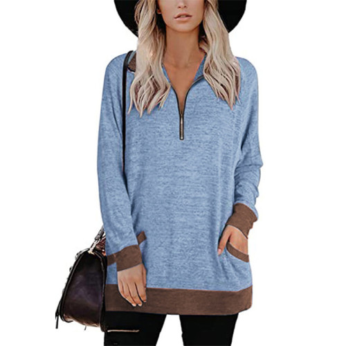 Light Blue Zipper Long Sleeve Sweatshirt With Pocket TQK230230-30