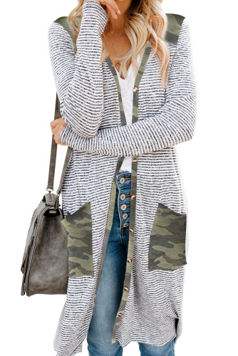 Camo Patchwork Long Striped Cardigan with Pockets LC254050-9
