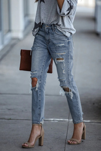 Contract High Rise Distressed Jeans LC78023-4