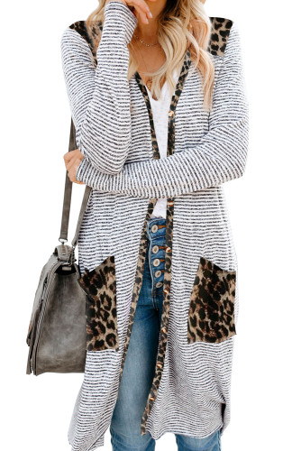 Leopard Patchwork Long Striped Cardigan with Pockets LC254050-20