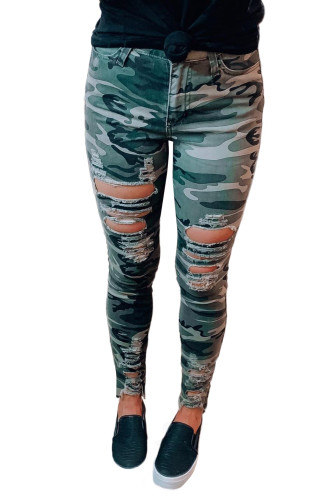 Green Camouflage Hollow out Skinny Jeans with Pocket LC78149-9