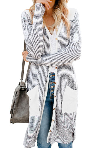 Solid Patchwork Long Striped Cardigan with Pockets LC254050-1