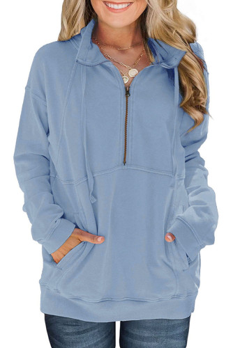 Cotton Pocketed Half Zip Pullover Sky Blue Sweatshirt LC253722-4