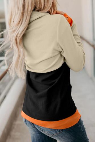 Orange Cowl Neck Pumpkin Print Color Block Halloween Sweatshirt LC2531257-14