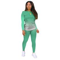 Green Gradient Long Sleeve Pant Set TQK710155-9