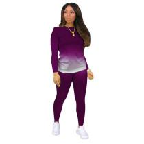 Purple Gradient Long Sleeve Pant Set TQK710155-8