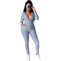 Light Gray Cotton Blend Zipper Hoodie and Pant Set TQK710156-25