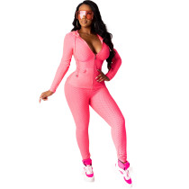 Pink Cotton Blend Zipper Hoodie and Pant Set TQK710156-10