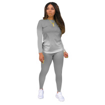 Gray Gradient Long Sleeve Pant Set TQK710155-11