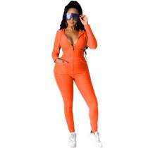 Orange Cotton Blend Zipper Hoodie and Pant Set TQK710156-14