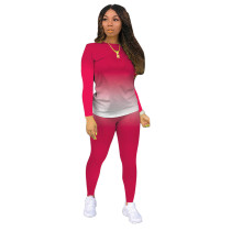 Rosy Gradient Long Sleeve Pant Set TQK710155-6