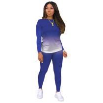 Blue Gradient Long Sleeve Pant Set TQK710155-5