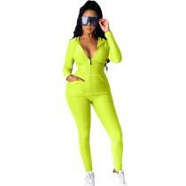 Yellow Cotton Blend Zipper Hoodie and Pant Set TQK710156-7